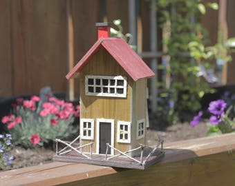 Handcrafted Wooden Cottage Birdhouse with Chimney, Fence and Window Detail - Hand Painted