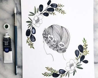 ANEMONE Girl with FLORA 8x10 // Art WATERCOLOR Ink Print Garden Leaves Indoor Plant Paynes Gray