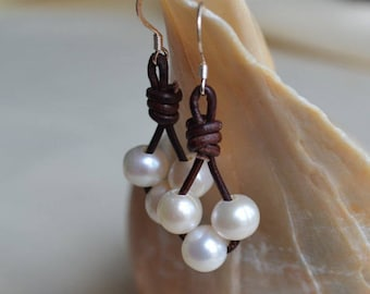 Three Pearls on Leather Dangling Earrings Long Leather Earrings Boho Bohemian Beach Jewelry Holiday Gifts For Her Boutique Jewelry Yevga