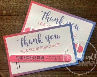 Business Thank You Cards with Custom Nail File / Thank You Gifts / Promotional Products / Marketing Kit /Promotional Items / Business Cards