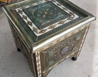 Ganza Metal Inlaid Moroccan Side Table, Marrakech