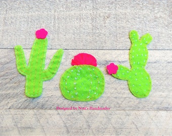 Cacti Cactus 3 Piece Iron On Felt Applique Patches, Iron on Applique for Kids Apparel Acessories T-shirt Bags and More, Cactus themed patch