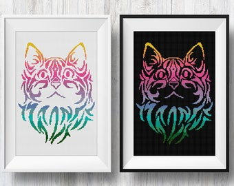 Rainbow Tribal Cat, Counted Cross Stitch Pattern, PDF Instant Download