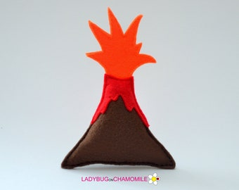 Felt VOLCANO, stuffed felt volcano magnet or ornament, Volcano toy, Jurassic, Nursery decor,Volcano magnet, Cute toy, Decor