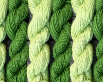 Pure wool yarn worsted weight, honeydew and lamongrass