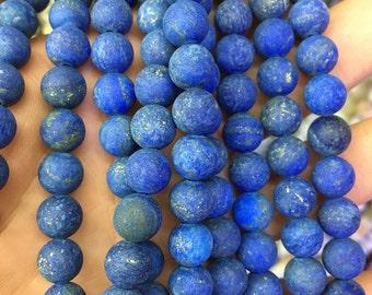 8mm natural gemstone lapis lazuli beads, blue lapis beads, round matte beads, loose stone beads in bulk 6mm 10mm 15'' strand