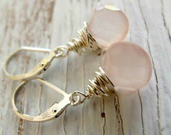 Pink Chalcedony Faceted Briolette Earrings, Sterling Silver Ear Wires