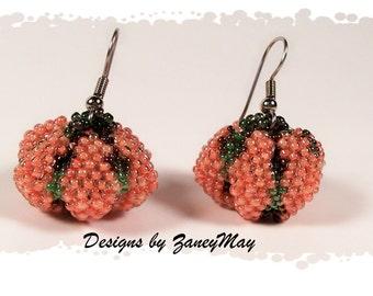 Tiny Pumpkin Earrings, Beading Tutorial in PDF
