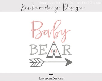 Baby Bear Three Sizes Embroidery Design, Modern Embroidery, Baby Embroidery, Tribal Design, Parent Baby, Mama Papa Baby Embroidery