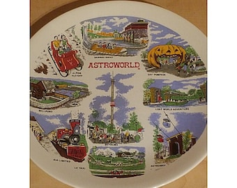 VINTAGE 1968 ASTROWORLD  COMMEMORATIVE Plate. Homer Laughlin