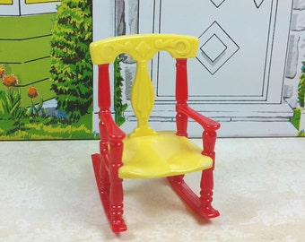 "RENWAL ROCKER, No. 65, Red and Yellow, 1950's, Hard Plastic, 3/4"" Scale, Vintage Tin Dollhouse Furniture"