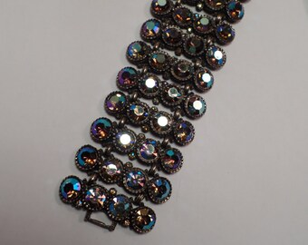 HUGE! 1950's Bracelet with Unusual Aurora Borealis Rhinestones