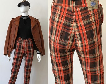 Vintage pants / 90 checkered pants / 90s pants / rave pants / high waisted pants / 90s rave pants / skinny plaid pants / made in france