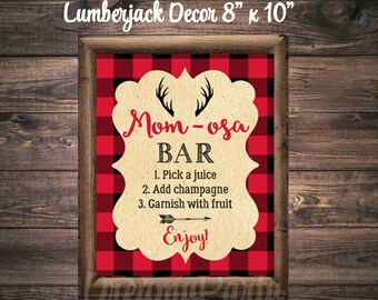 Lumberjack Mom-osa Bar Sign, Lumberjack Baby Shower, Lumberjack Party Decor, Lumberjack Party Sign, 8x10, Digital File.