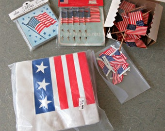 Vintage Party Supplies, Fourth of July, 4th of July Party, Independence Day, Patriotic, Red White Blue Napkins, Flags, Coasters, Flag Picks