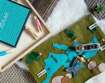 Mediterranean sea waldorf inspired ocean felt wool playscape playmat - pretend play storytelling story time - geography play map