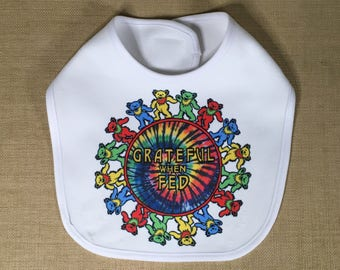 Grateful When Fed Fleece Baby Bib Featuring a Dancing Bear Tie Dye Design