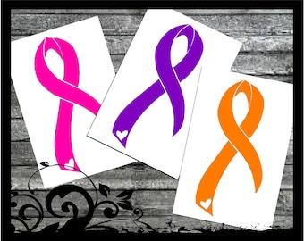 Cancer Awareness Ribbon Car Decal; vinyl decals