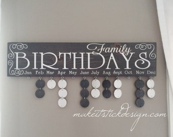 Family Birthday Board, Celebration Board, Birthday Calendar, Family Celebrations, Grey Stained and White Wall Hanging