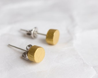Stud earrings, tiny earrings, gold stud earrings, gold earrings, earrings studs, FREE SHIPPING, wooden earrings, minimal
