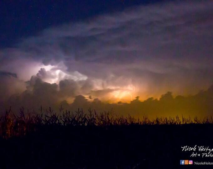 Country Farm Scenery Corn Field Photo Thunderstorm Photography Storm Photo South Dakota Photography Lightning Photography by Nicole Heitzman