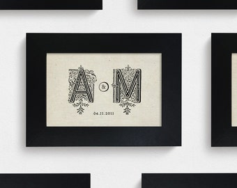 "Hand Drawn Original 2-Letter Monogram / 4x6"" / Made-to-Order"