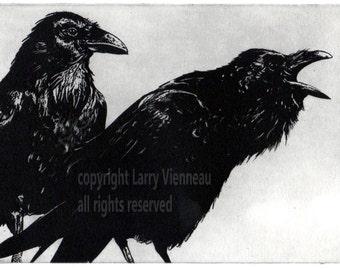 Raven artwork , Raven, crow, Black Bird, Mythology, Etching 2014, Assorted colors. 5 inch x 7 inch