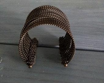 Brass Cuff Bracelet, mid century modern brass, girls gift, Vintage brass cuff bracelet thick / large, Antique Brass Cuff Bracelet Valentine