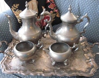 Shabby Chic Beautiful Plated silver Estate Find as found marriage tray  2 teapots with matching cream and sugar  Silverplate all pieces very old  MIX Match sturdy needs complete clean and polish 5 piece