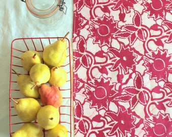 bright red batik tea towel