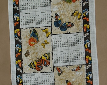 Unusual Butterfly Design 1982 He Hath Made Every Thing Beautiful Vintage Linen Kitchen Calendar Towel