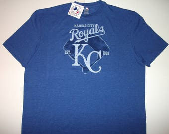 Kansas City Royals MAJESTIC Blue T-shirt Size XL NEW With tags