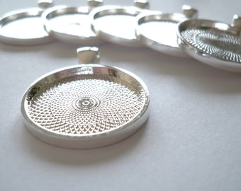 SALE 10 - NEW 1 inch Round Silver Tone Blank Bezel Pendant Trays