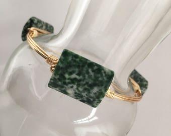 Green Jasper Wire Wrapped Bangle, Wire Wrapped Bangle, Wire Bangle, Wire Wrapped Bracelet, Wire Wrap Bracelet, Gemstone Bangle
