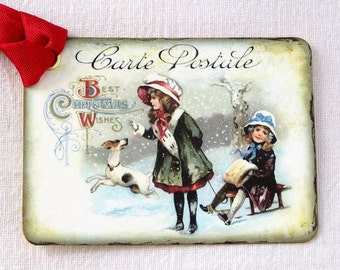 Vintage Style Kids Sledding French Postcard Gift or Scrapbook Tags or Magnet #446