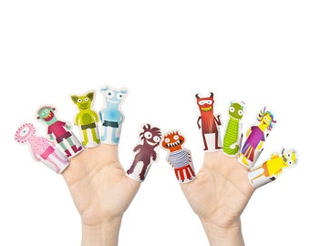 10 Monsters Paper Finger Puppets - PRINTABLE PDF Toy - DIY Craft Kit Paper Toy - Birthday Party Favor