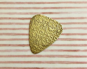 Stamped Guitar PIck - Textured Brass Guitar Pick - LOTUS Design - Plectrum - Musician Gift - Functional Gift