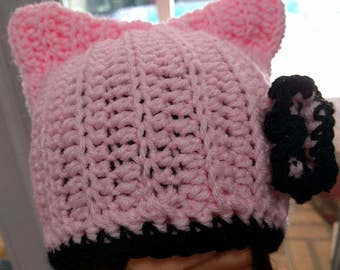 Pink and Black Cat Hat with Flower