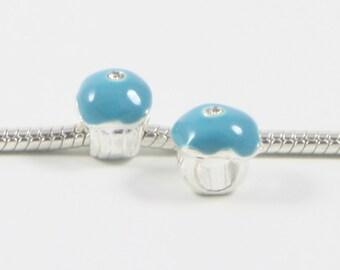 3 Beads - Blue Cupcake Icecream Enamel Rhinestone Silver European Bead Charm E0668