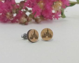 Vintage Disney Castle Logo Post Earrings - Sleeping Beauty's Castle - Titanium Post Earring Pair