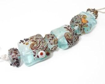 Ocean Beach Lover Handmade Glass Lampwork Aqua Beads - Prima Donna Beads