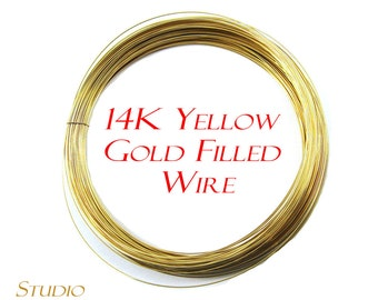 14K real yellow gold filled wire, wire, Gold Filled wire, Thickness from 30 GA to 13 GA – 1 meter (3.30 ft)