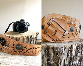 Vintage Camera Strap  //  Leather Camera Strap //  Interchangeable Camera Strap  //  THE MATAHARI
