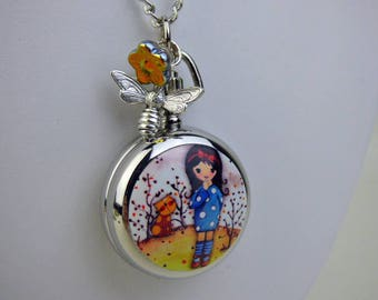 "Antique Style Pocket Watch Necklace, 20-30"" Silver Plated Chain, Engravable, Whimsical Girl and kitty, Honey bee charm, Czech glass flower"