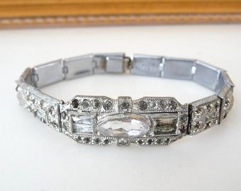 Vintage Art Deco Paste Rhinestone Bracelet Links by The Nov-E-Line from TreasuresOfGrace