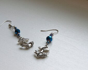 anchor earrings - anchor jewelry - anchors - nautical earrings - nautical jewelry - nautical anchors - beach earrings - sapphire beads