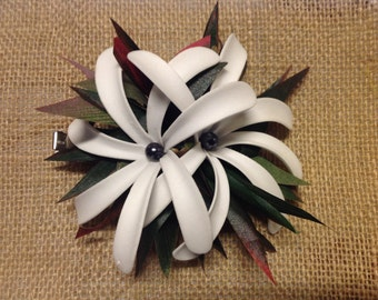 Polynesian Flower Hair Clip..Double Tiare and Ti Leaves Hair Clip