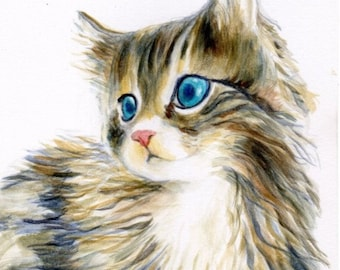 cat art print of a furry kitten, cat portrait, cat lover gift, adorable kitten picture for nursery room decor, A3 print A4, 8x10, 6x8