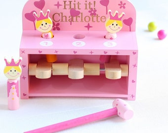 Personalised Princess Hammer & Pop Up Peg Wooden Toy