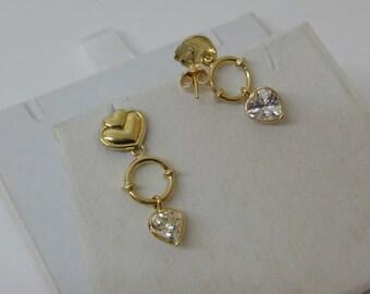 750 18ct. Gold Heart stud Earrings Crystal OR129